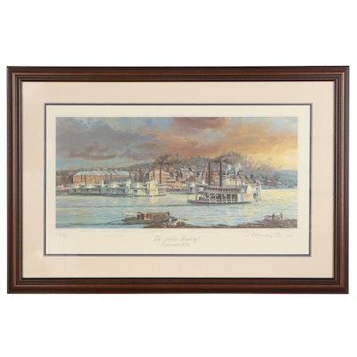 "Michael Blaser Offset Lithograph ""The Public Landing, Cincinnati, 1850"","