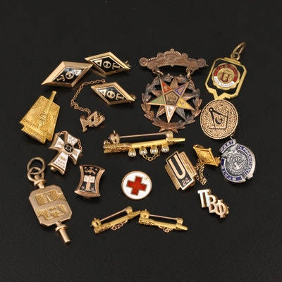 Antique and Vintage Emblematic Jewelry Including 10K and 14K Gold