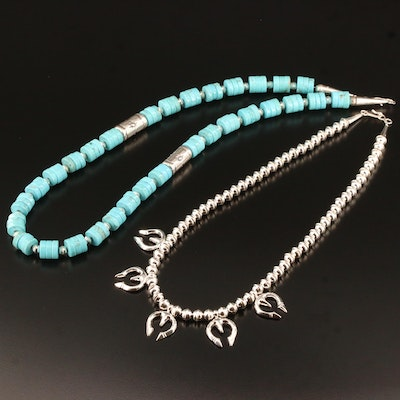 Southwestern Style Sterling Silver Magnesite Necklace with Naja Style Necklace