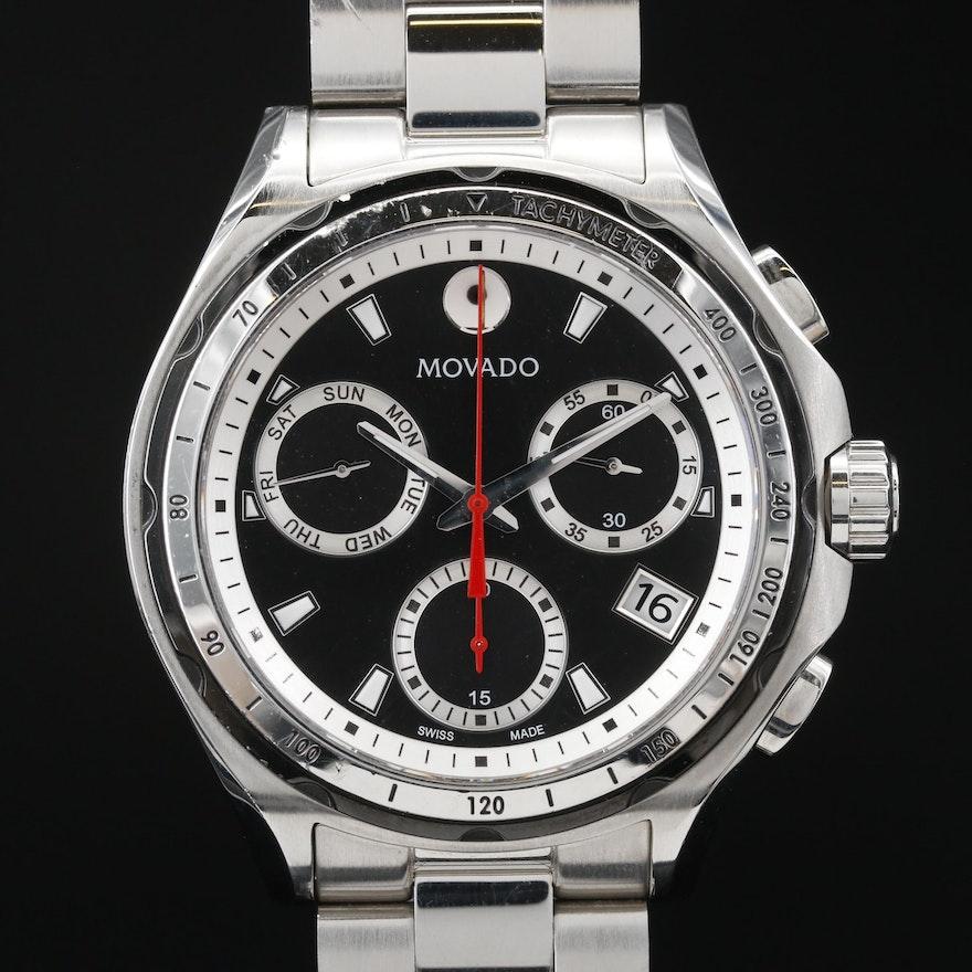 "Movado ""Series 800"" Chronograph Stainless Steel Quartz Wristwatch"