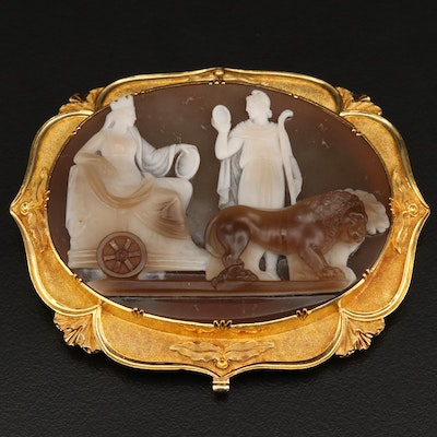 18K Neoclassical Large Agate Cameo Finding
