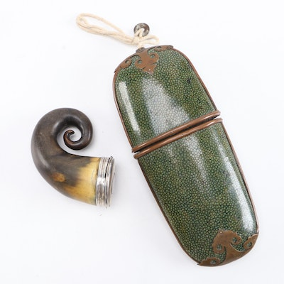 Chinese Shagreen Eyeglass Case with Horn Snuff Box