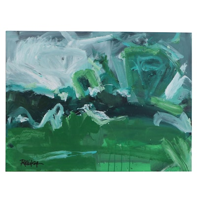 "Robbie Kemper Abstract Acrylic Painting ""Horizontal Greens,"" 21st Century"