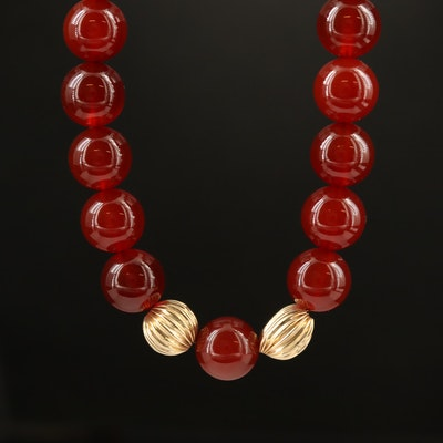14K Agate and Fluted Bead Necklace