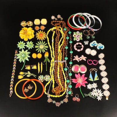 Vintage Floral Motif Necklaces, Brooches, Earrings and Rings