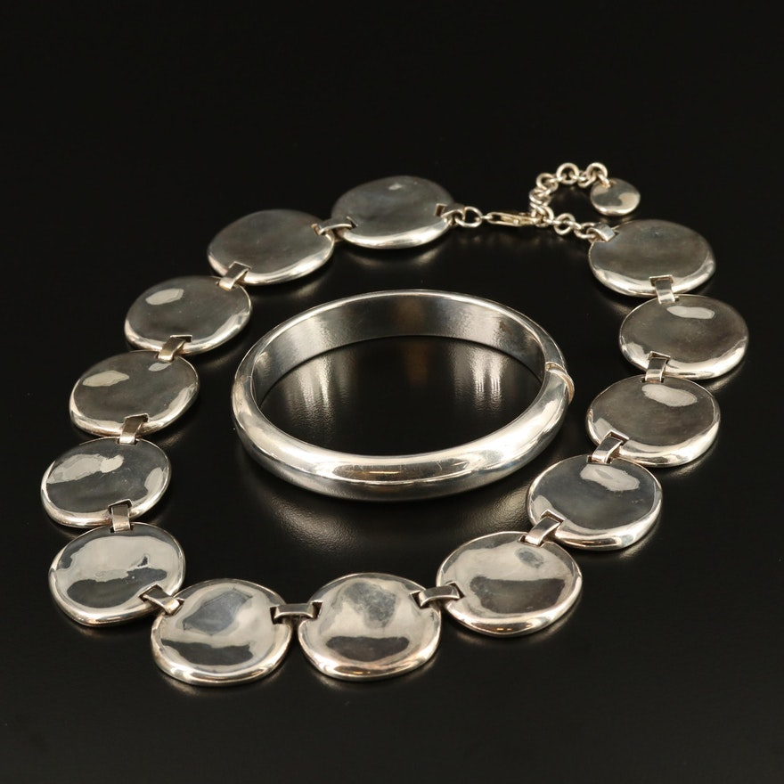 Sterling Hinged Bangle and Disk Necklace