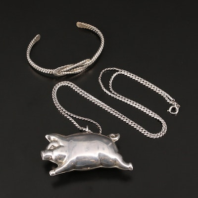 Sterling Silver Dimensional Pig Necklace with Twisted Wire Cuff