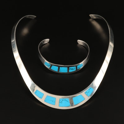 Mexican Sterling Silver Turquoise Inlay Torc and Cuff Set