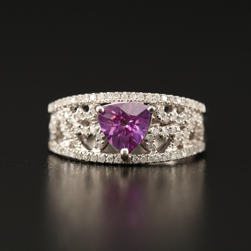 14K Pink Sapphire and Diamond Openwork Ring