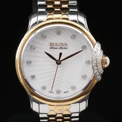 Diamond Bulova Accu-Swiss Stainless Steel Quartz Wristwatch