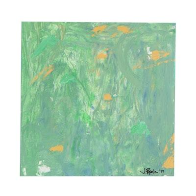 "J. Popolin Abstract Acrylic Painting ""Beneath the Sea"", 2019"