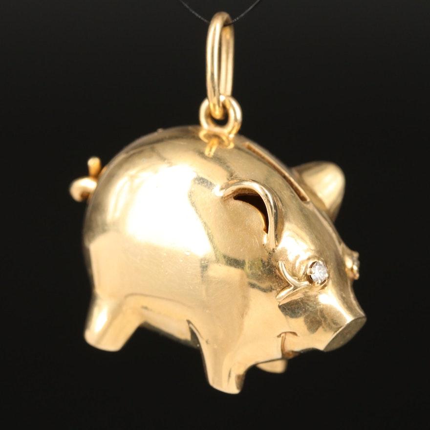 14K Piggy Bank Pendant with Diamond Eyes