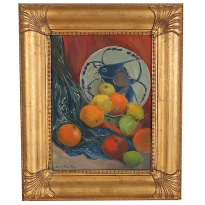 Lucie Cottle Fruit Still Life Oil Painting, Mid 20th Century