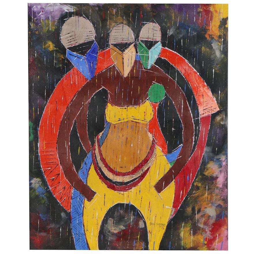 "Oluseyi Soyege Acrylic Painting ""Surround Yourself With Good People"", 2019"