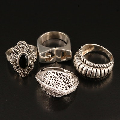 Sterling Silver Rings Featuring Black Onyx, Marcasite and Cubic Zirconia