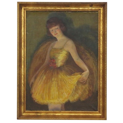 Bertha Lacey Oil Painting of Ballerina, Early 20th Century