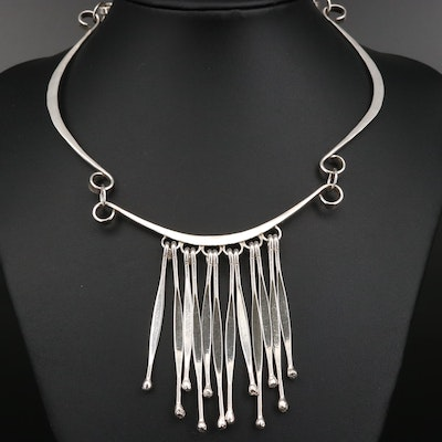 Sterling Silver Fringed Bib Necklace