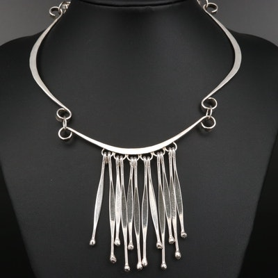 Sterling Silver Finged Bib Necklace