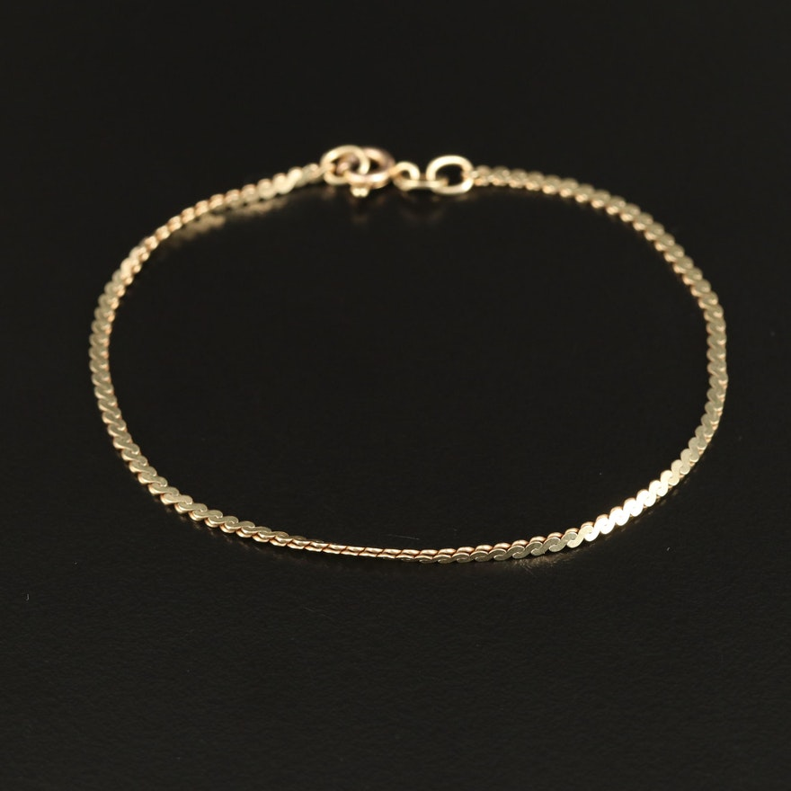 14K Serpentine Link Bracelet