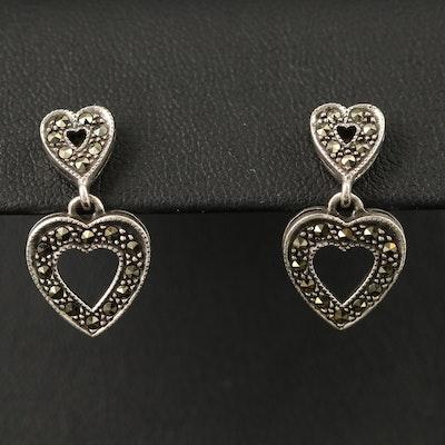Sterling Marcasite Double Heart Earrings