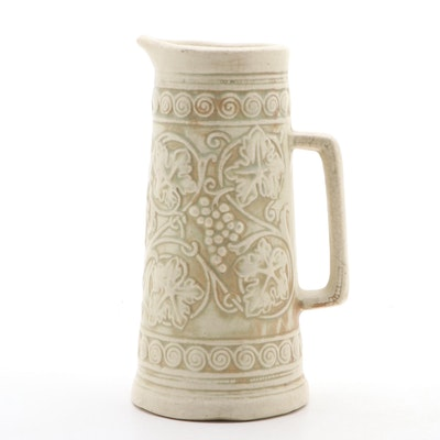 Art Nouveau Grapevine Ceramic Pitcher, Early 20th Century