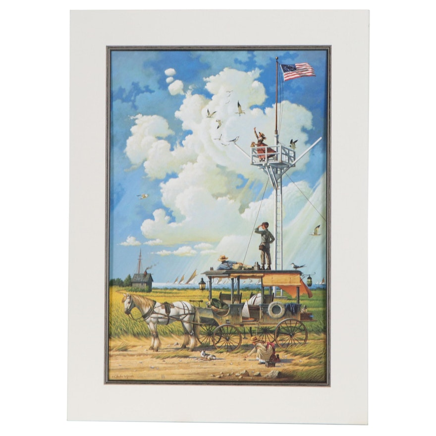 """Charles Wysocki Offset Lithograph """"Young Hearts at Sea"""", Late 20th Century"""