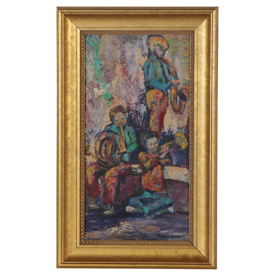 Abstract Oil Painting of Figures, Late 20th Century