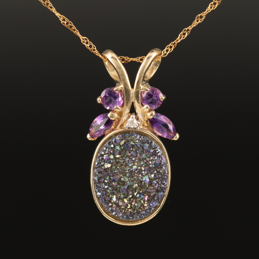 10K Druzy Quartz, Amethyst and Diamond Pendant Necklace