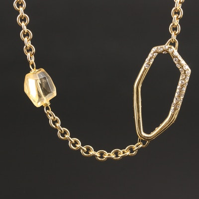 Citrine and Rhinestone Station Necklace
