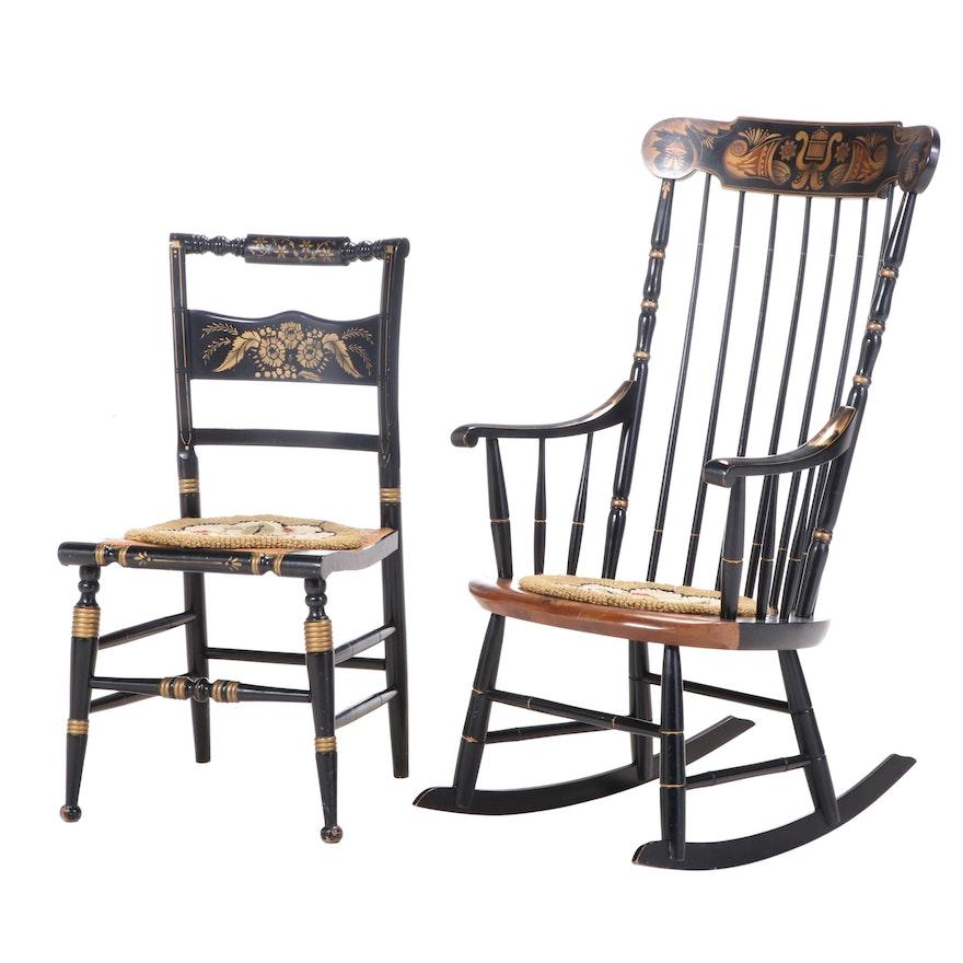 """L. Hitchcock Parcel-Ebonized and Gilt-Stenciled """"Fancy"""" Rocker Plus Side Chair"""