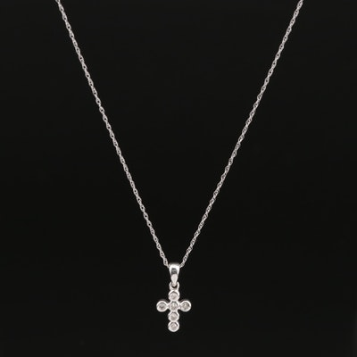18K Diamond Cross Pendant on 14K Singapore Necklace