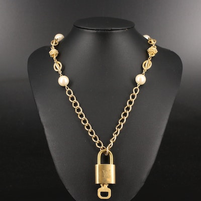 Louis Vuitton Padlock on Faux Pearl Station Necklace