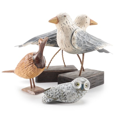 Pair of Fitz & Floyd Wood and Metal Bird Figurines with More Carved Wooden Birds