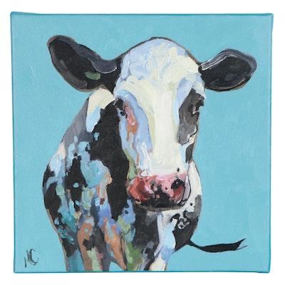 "Monica Cascio Oil Painting ""Lovely Moo No. 1"", 2020"