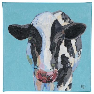 "Monica Cascio Oil Painting ""Lovely Moo No. 2"", 2020"