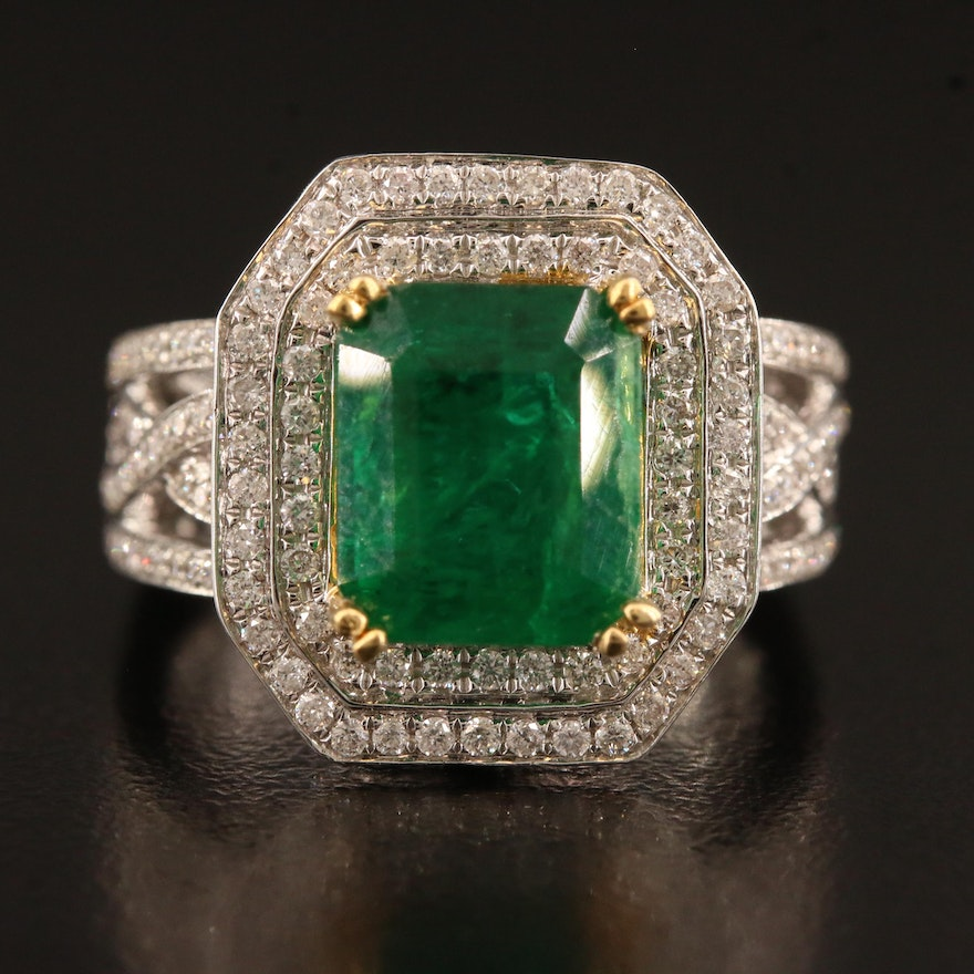 14K 4.03 CT Emerald and 1.37 CTW Diamond Double Halo Ring