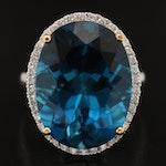 14K 23.35 CT London Blue Topaz and Diamond Ring