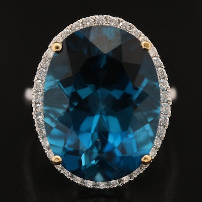 14K 23.35 CT London Blue Topaz and Diamond Ring