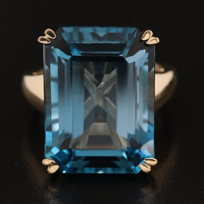 14K 27.89 CT Topaz Solitaire Ring