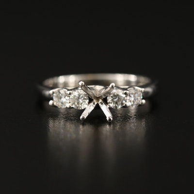 Trellis Style 14K Diamond Semi Mount Ring