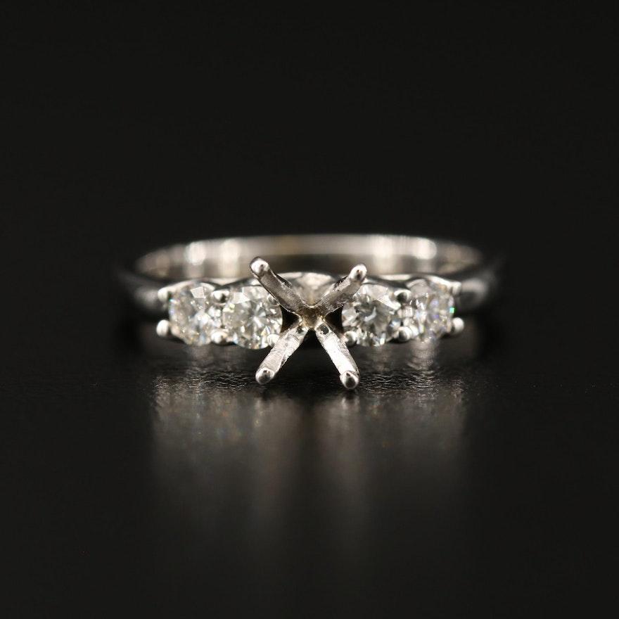 Trellis Style 14K Diamond Semi Mount Ring