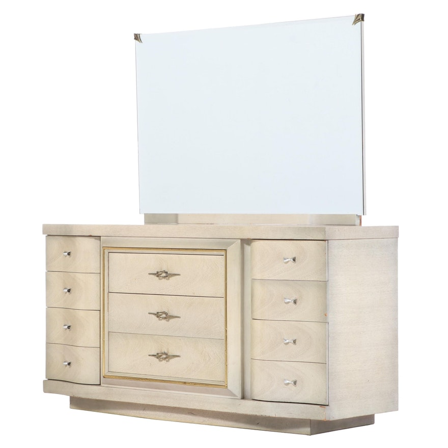Bassett Furniture Modern Blonde Wood Nine-Drawer Dresser, Late 20th Century