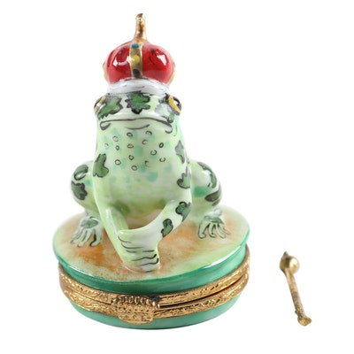 Artoria Hand-Painted Porcelain Frog Prince Limoges Box
