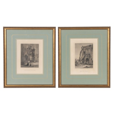 Steel Plate Engravings of Interior and Architectural Scenes, Late 19th Century
