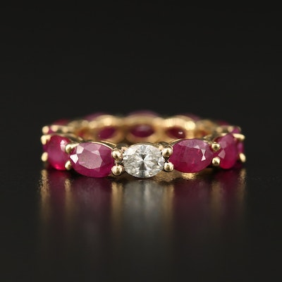 18K Diamond and Ruby Eternity Band