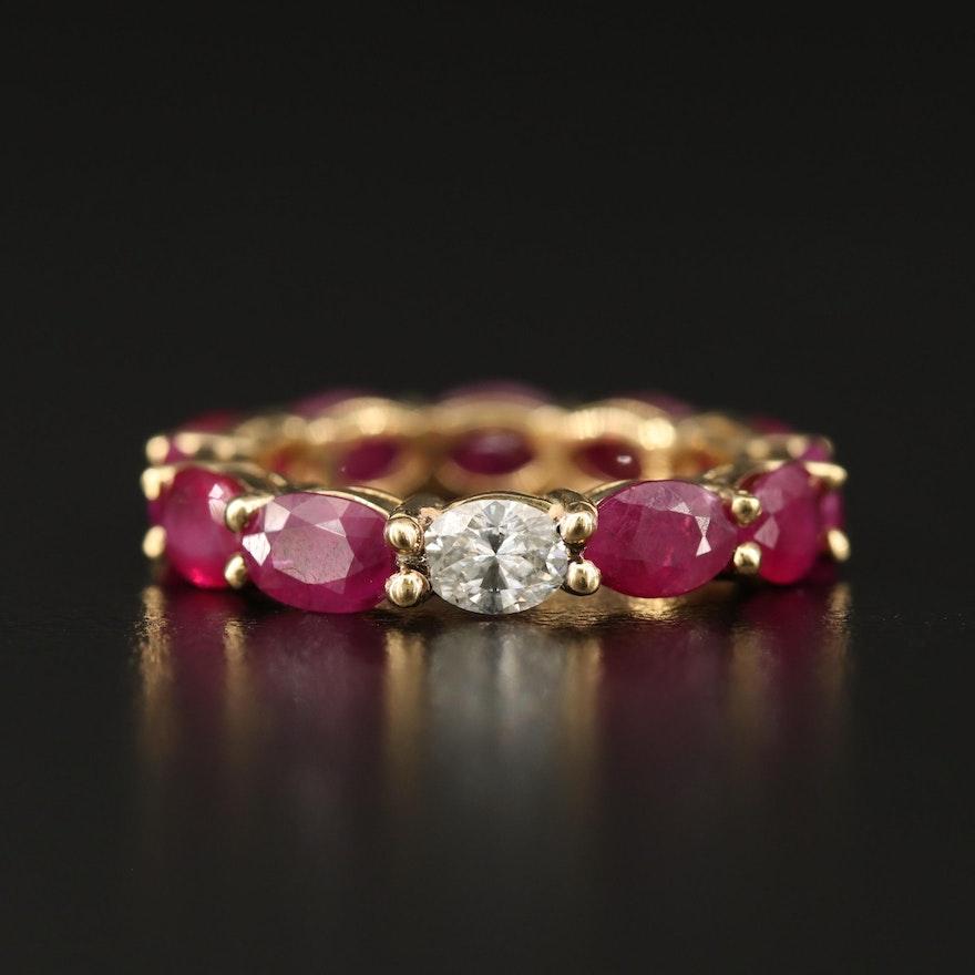 18K Diamond and Ruby Eternity Band