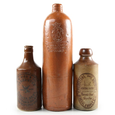 Antique North American and European Stoneware Bottles