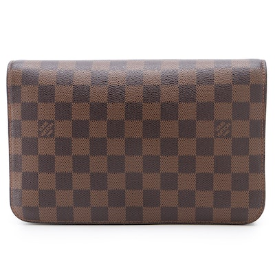 Louis Vuitton Pochette Saint Louis Zip Clutch in Damier Damier Ebene Canvas