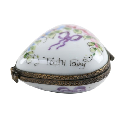 "French Hand-Painted Porcelain ""Tooth Fairy"" Limoges Box"