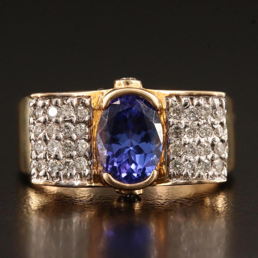 14K Tanzanite and Diamond Bow Ring